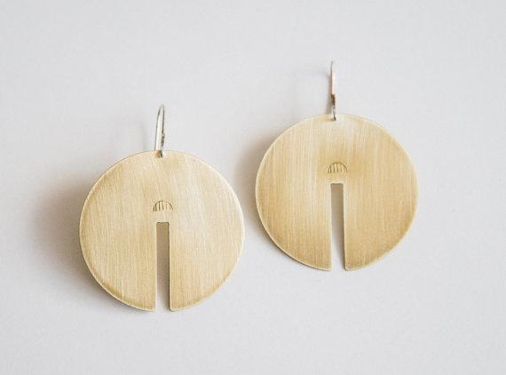 Lumafina Large Circle Earrings, Minimal Geometric Disc Earrings | Rae Earrings Earrings Lumafina