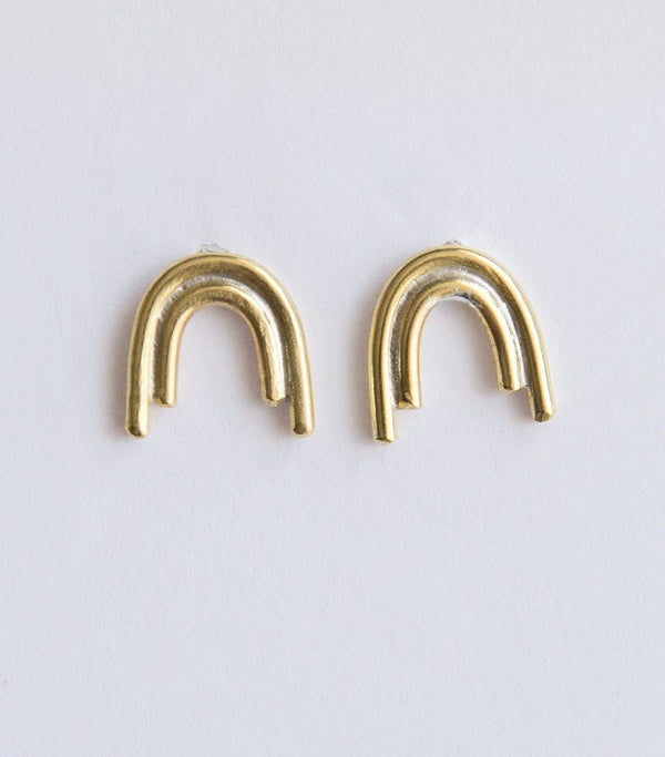 Lumafina Rainbow Studs, Arch Earrings, Minimal Boho Studs | Ursa Stud Earrings Earrings Lumafina