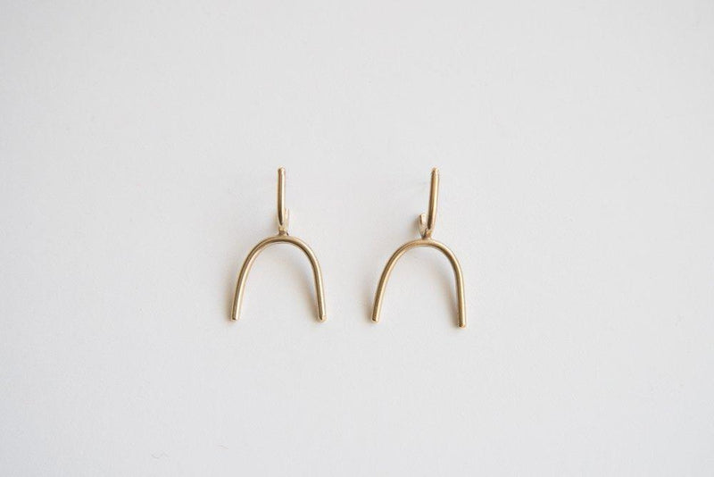 Lumafina Silver Minimal Earrings, Gold Modernist Arch Earrings, Rainbow Earrings | Lyra Earrings Earrings Lumafina