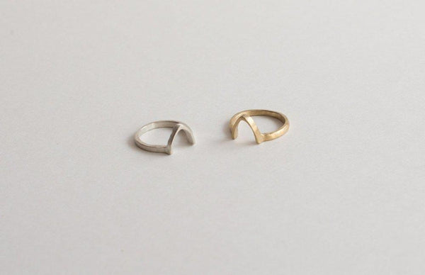 Lumafina Simple Nesting Ring, Silver Arch Ring, Gold Triangle Ring | Thin Abode Ring Rings Lumafina