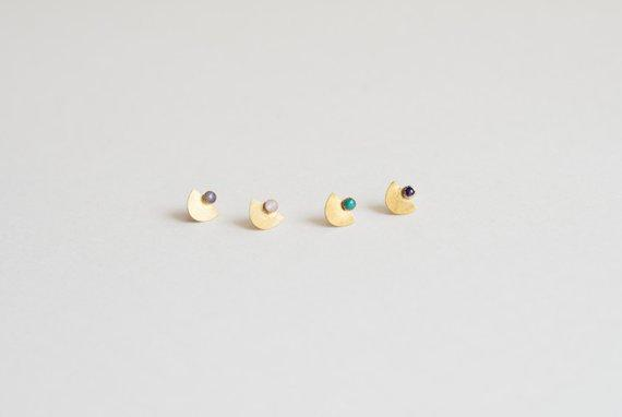 Lumafina Turquoise Studs, Half Circle Studs, Moonstone Studs, Lapis Studs | Suma Stud Earrings, Small Earrings Lumafina