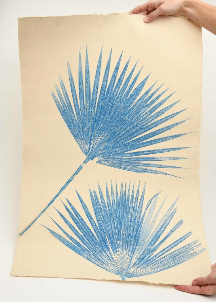 Magda Made Fique Palm Print Made Trade Bright Blue
