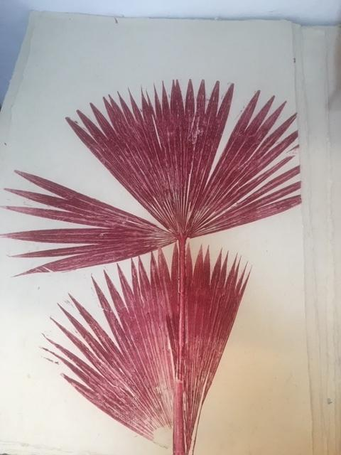 Magda Made Fique Palm Print Made Trade Burgundy