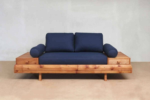 Masaya & Co. Floating Love Seat, Navy Blue Love Seat Masaya & Co. Royal Mahogany Navy Blue