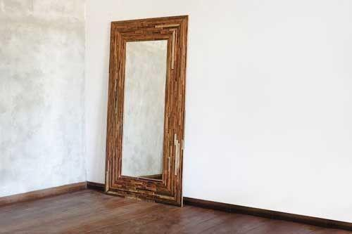 Masaya & Co. Geo Hall Large Mirror - Mixed Tropical Hardwood Frame Mirror Masaya & Co.