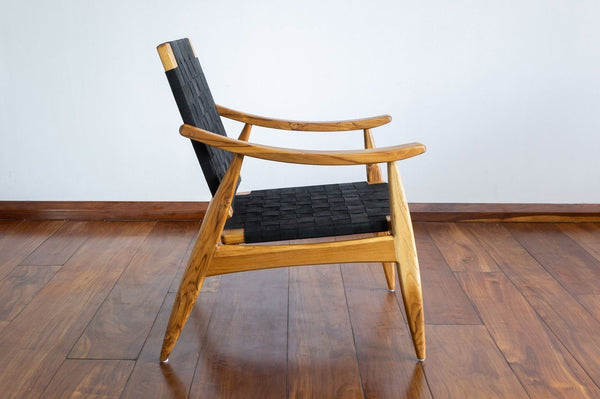 Masaya & Co. Izapa Arm Chair, Black Leather Teak Lounge Chair Masaya & Co.