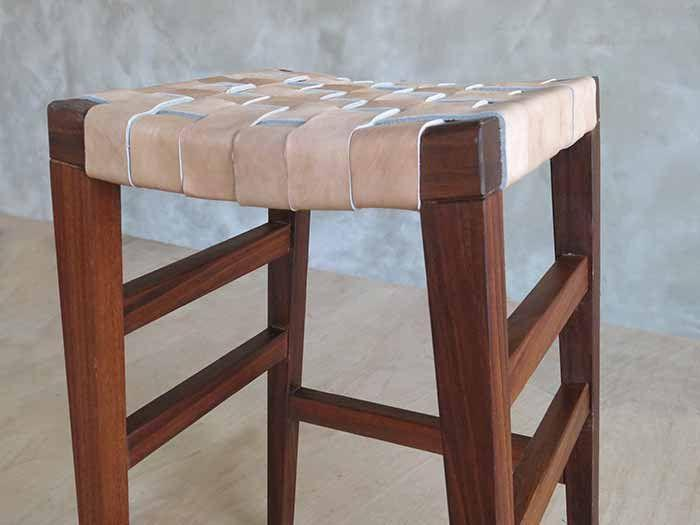 Masaya & Co. Masaya Leather Barstool Barstool Masaya & Co. Natural Leather Rosita Walnut