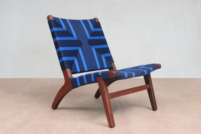Masaya & Co. Masaya Lounge Chair, Midnight Blue Pattern Lounge Chair: In-Stock Masaya & Co. Mid Blue Manila Rosita Walnut