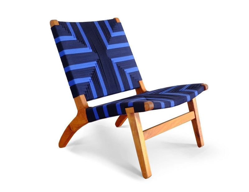 Masaya & Co. Masaya Lounge Chair, Midnight Blue Pattern Lounge Chair: In-Stock Masaya & Co. Mid Blue Manila Teak