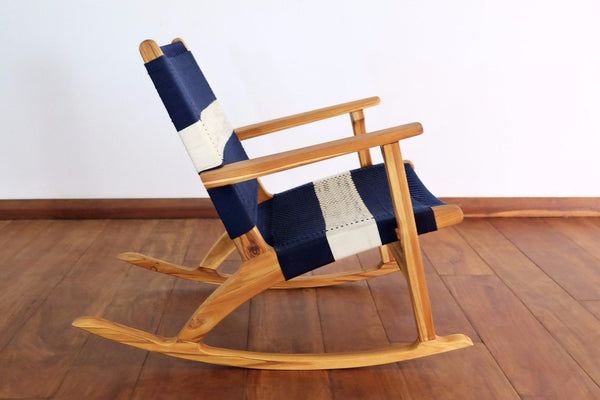Masaya & Co. Masaya Rocking Chair, Navy & White Stripe Manila Lounge Chair Masaya & Co.