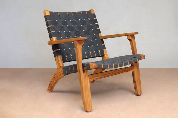 Masaya & Co. Outdoor Masaya Arm Chair - Charcoal Sunbrella Strap and Teak Lounge Chair: In-Stock Masaya & Co.