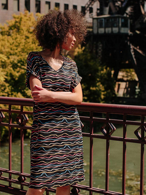 Mata Traders Montrose Midi Dress Wobbly Stripe Dress Mata Traders