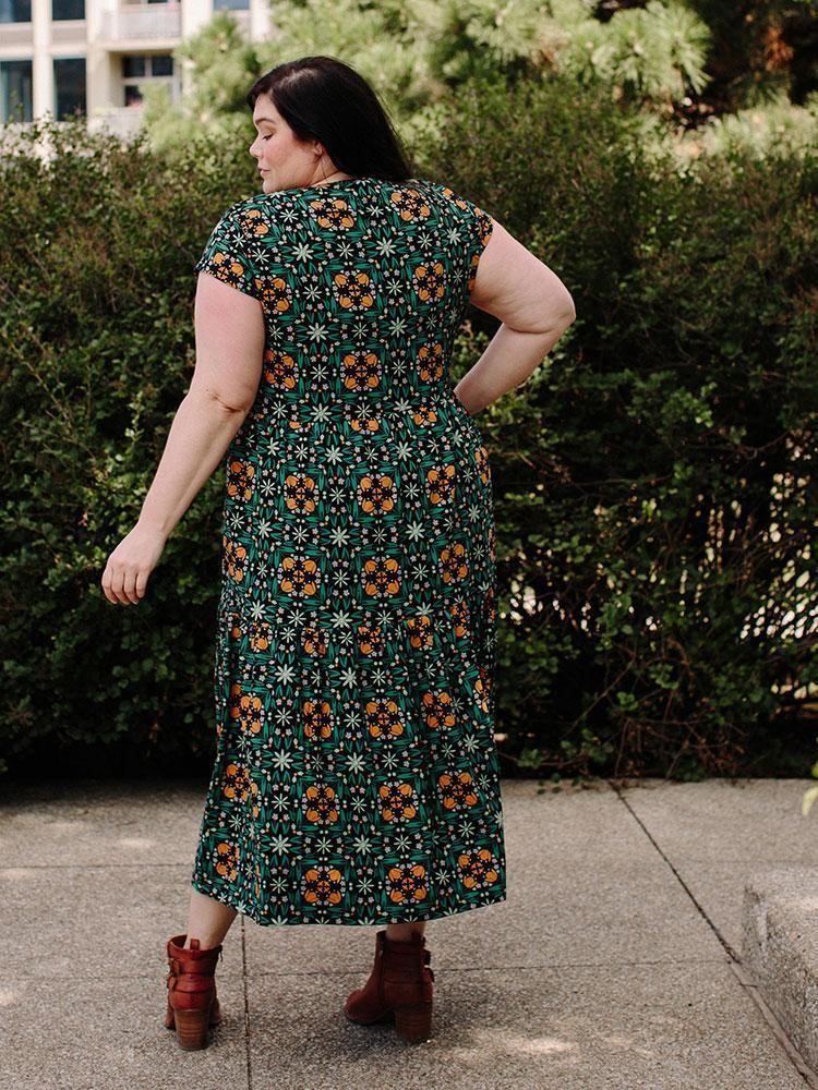 Mata Traders Tiered Jersey Plus Size Dress Teal Tile Dress Mata Traders