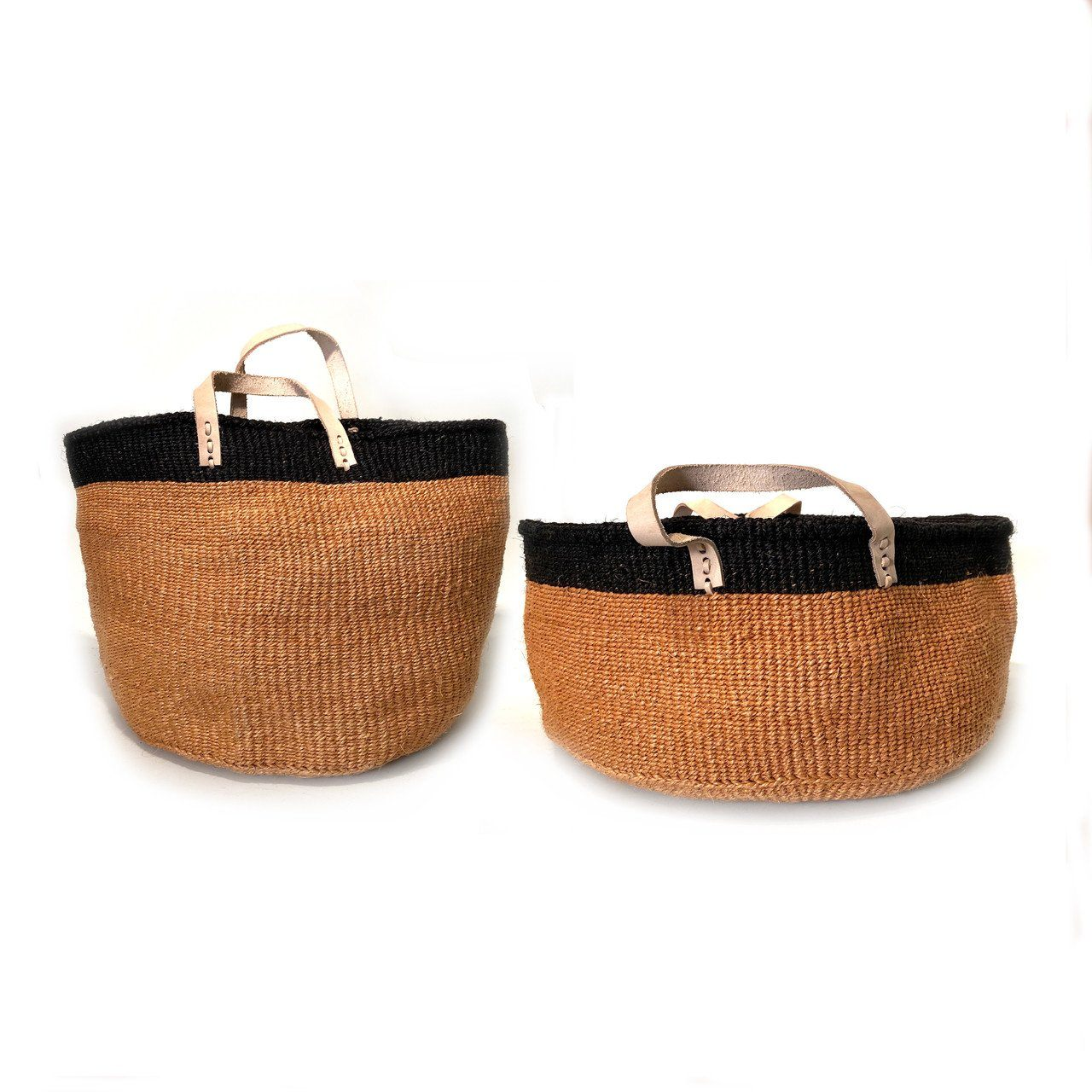 Mbare Floor Basket with Leather Handles Home Decor Mbare