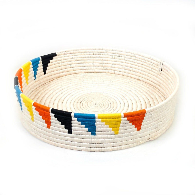Mbare Inyabu Basket Tray - Colorful Triangles Home Decor Mbare