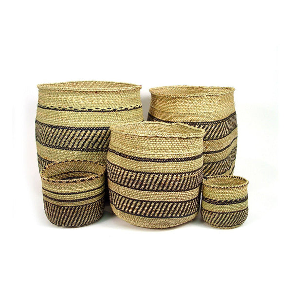 Mbare Iringa Woven Basket - Black Stripe Home Decor Mbare