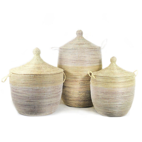 Mbare Large Two-Tone Basket - Natural + White Home Decor Mbare