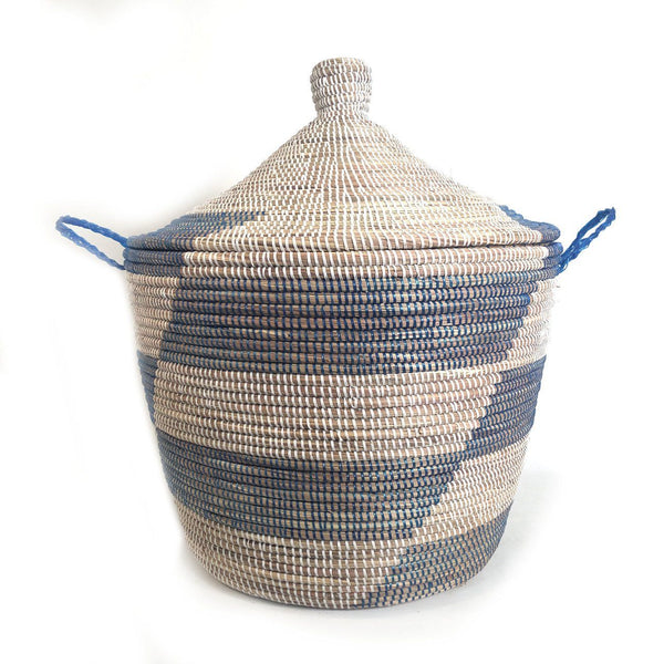 Mbare Low Storage Hamper Basket - Blue Stripe Home Decor Mbare