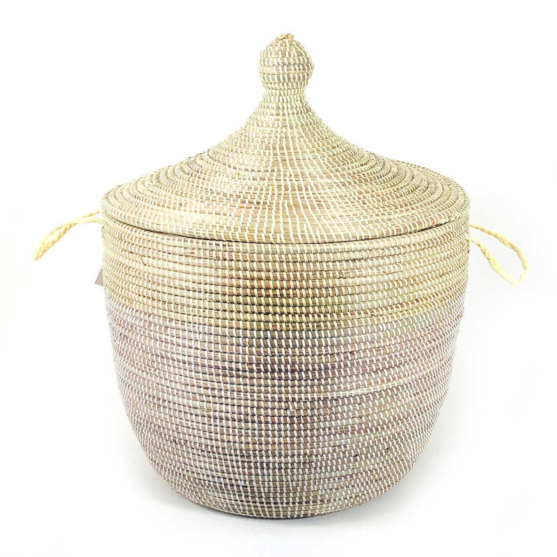 Mbare Low Storage Two-Tone Basket - Natural + White Home Decor Mbare