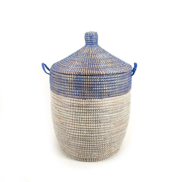 Mbare Medium Two-Tone Basket - Navy + White Home Decor Mbare