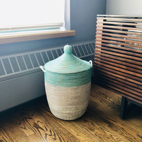 Mbare Medium Two-Tone Basket - Turquoise + White Home Decor Mbare