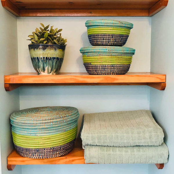 Mbare Modern Storage Basket Set - Coastal Blues Home Decor Mbare