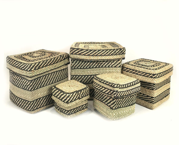 Mbare Square Iringa Basket - Black Stripe Home Decor Mbare