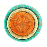 Mbare Tabletop Basket Bowl Set - Orange/ Turquoise/ White Home Decor Mbare -15057686200383