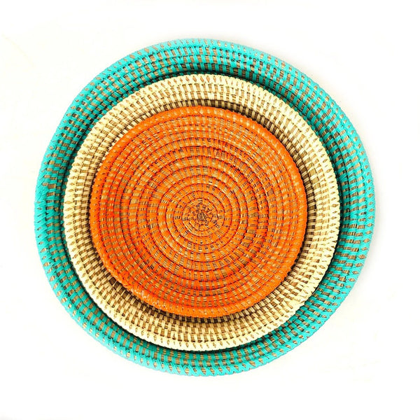 Mbare Tabletop Basket Bowl Set - Orange/ Turquoise/ White Home Decor Mbare