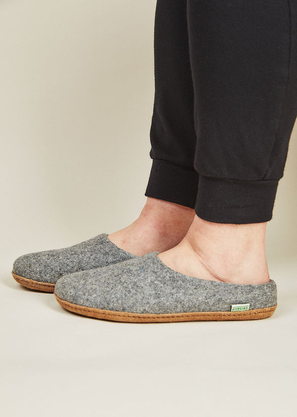 Men's All Natural Sole Wool Slippers with Low Back - Gray Men's Shoes Kyrgies