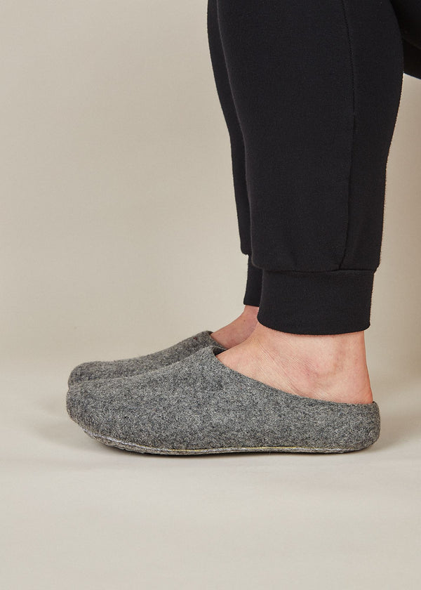 Men's Classic Low Back Wool Slippers - Gray Men's Shoes Kyrgies