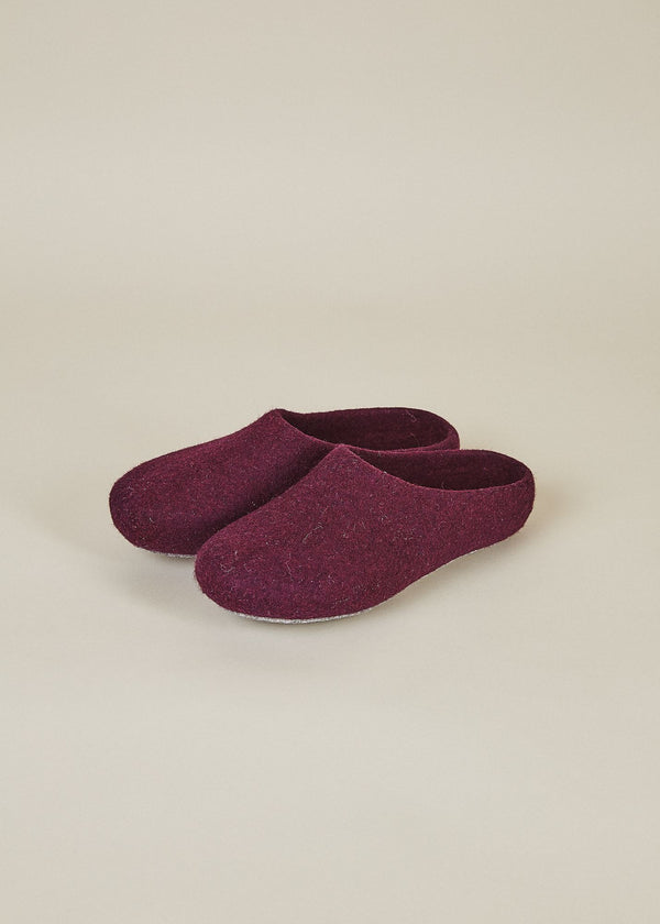 Men's Classic Wool Low Back Slippers - Plum House Shoes Kyrgies
