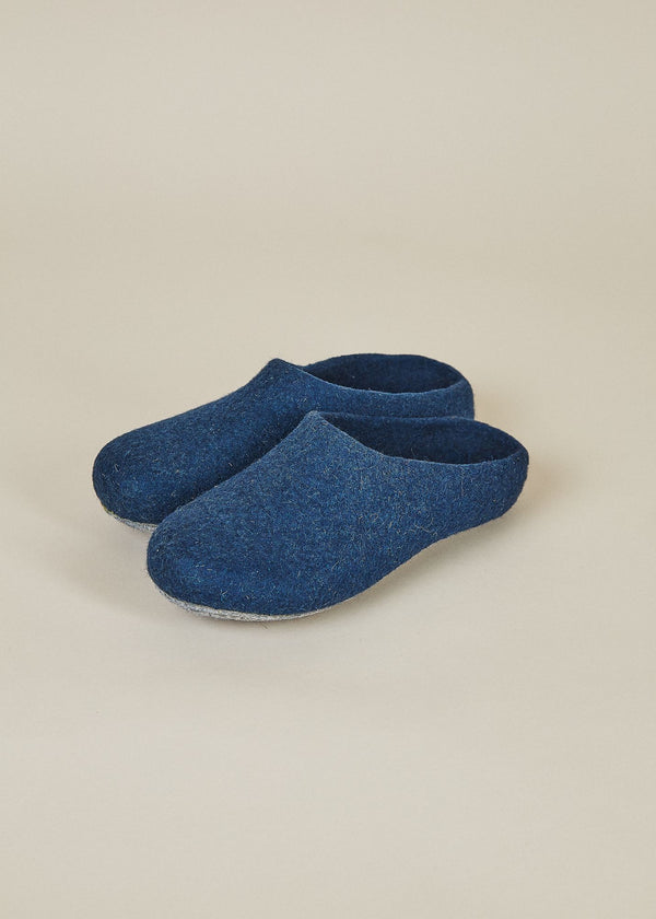 Men's Classic Wool Slippers with Low Back - Heathered Navy Men's Shoes Kyrgies
