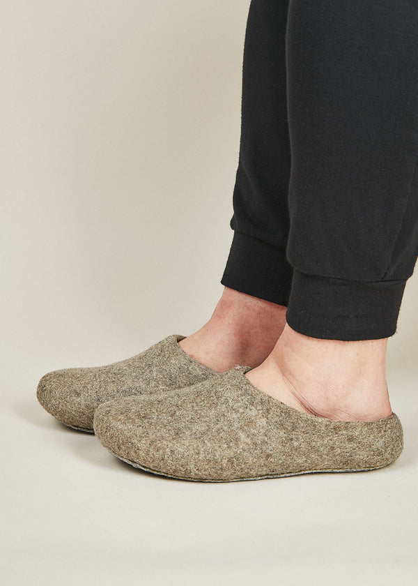 Men's Classic Wool Slippers with Low Back - Oatmeal Men's Shoes Kyrgies