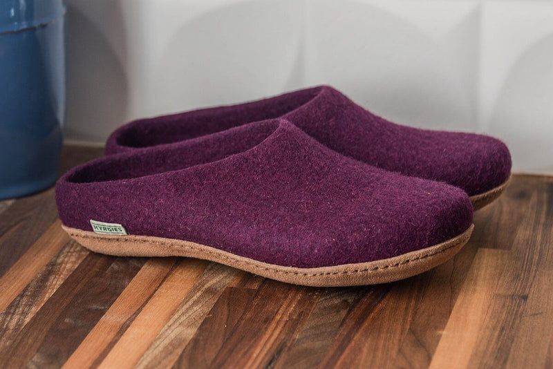 Men's Kyrgies Slippers with Molded Sole and Low Back - Plum Shoes Kyrgies