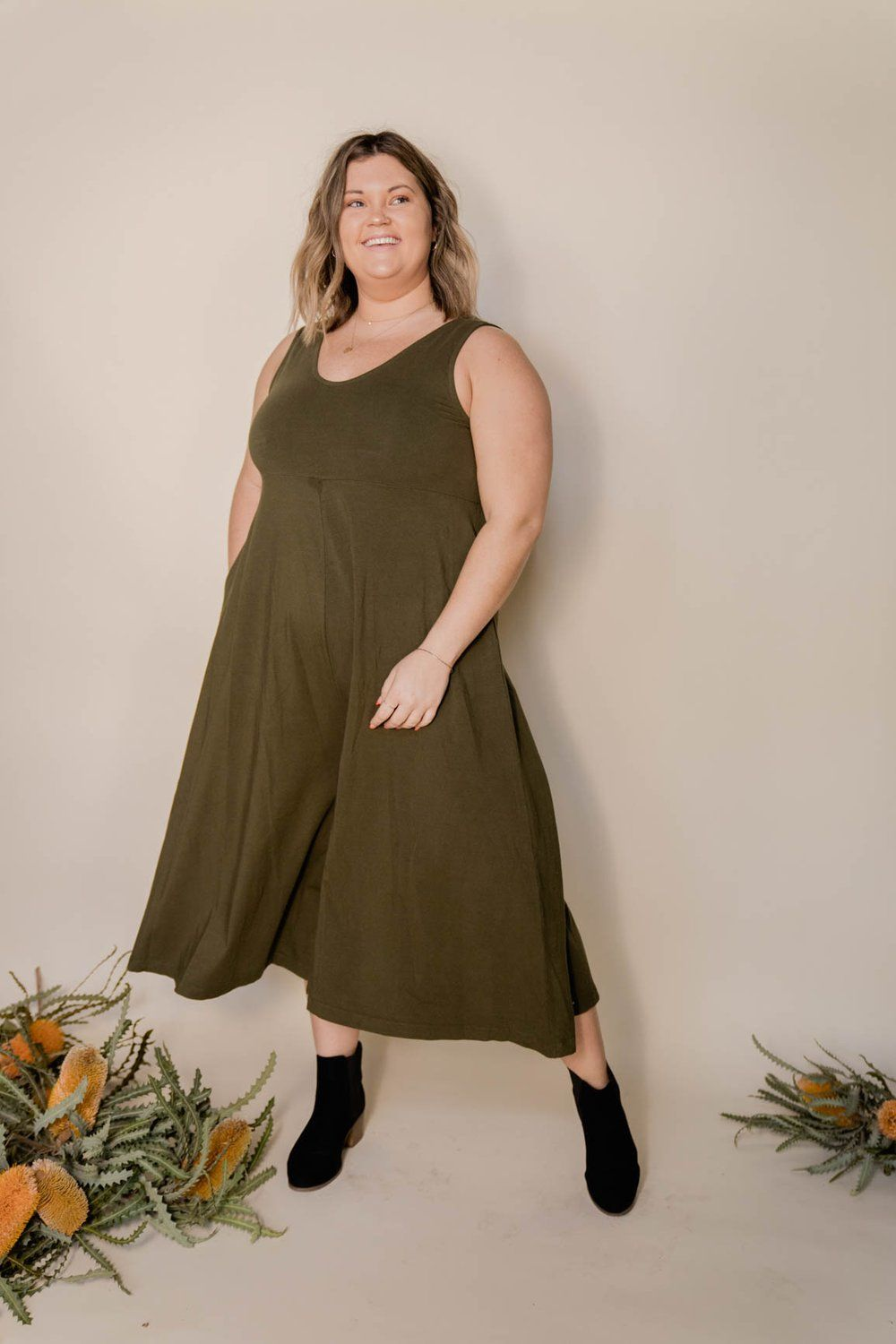 Mien Lakeside Wide Leg Organic Jumpsuit Dark Moss Made Trade