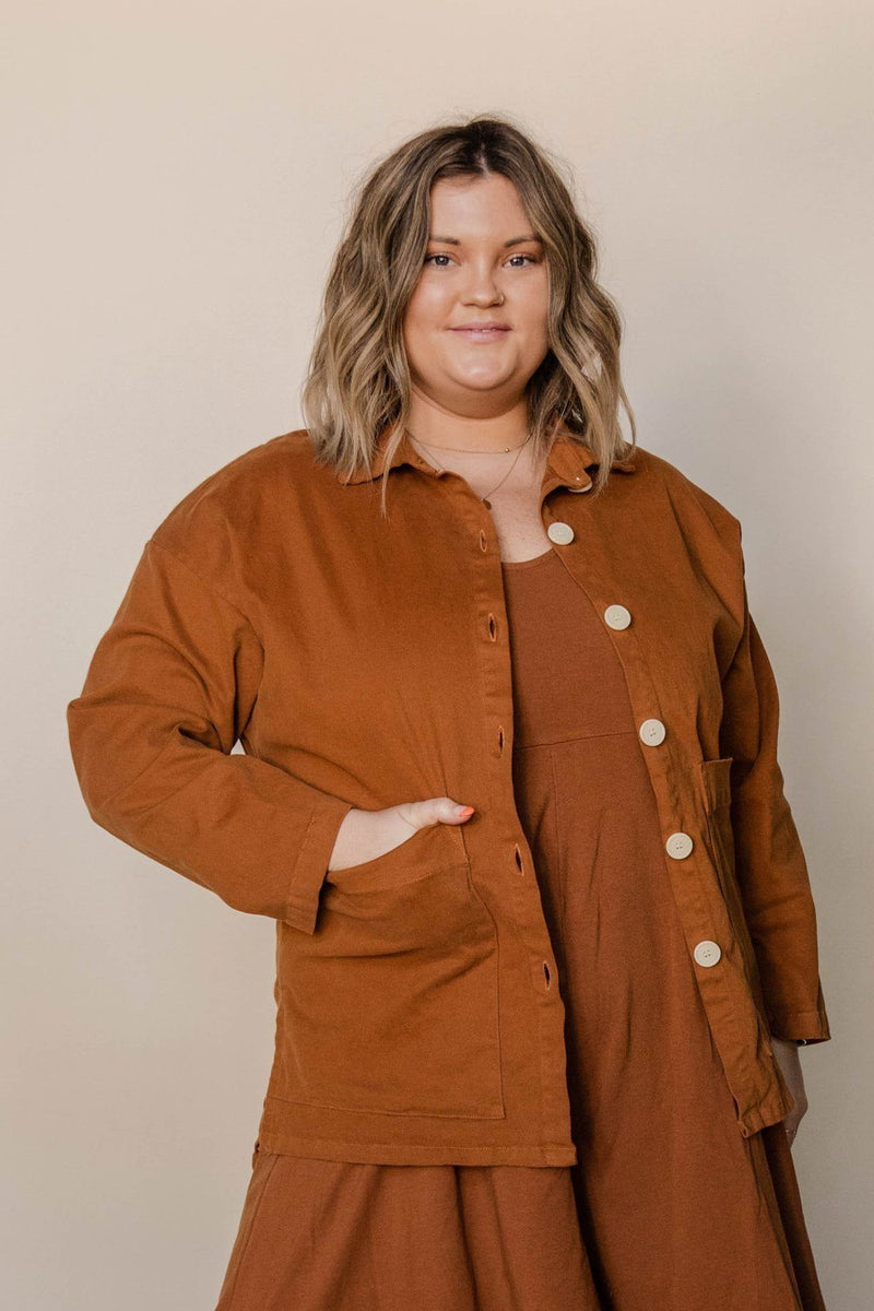 Mien Painters Button Jacket - Saddle Brown JACKET Mien