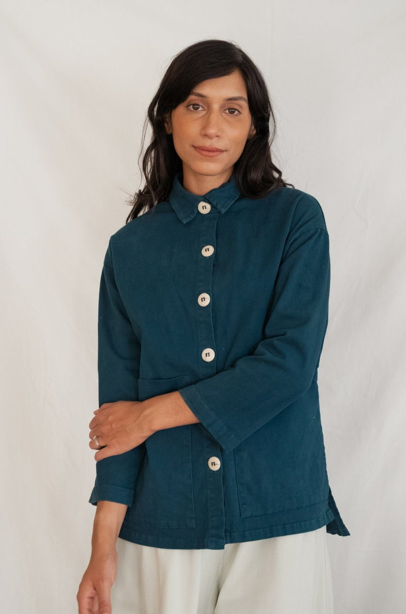 Mien Painters Button Organic Jacket - Rich Teal SHIRT Mien