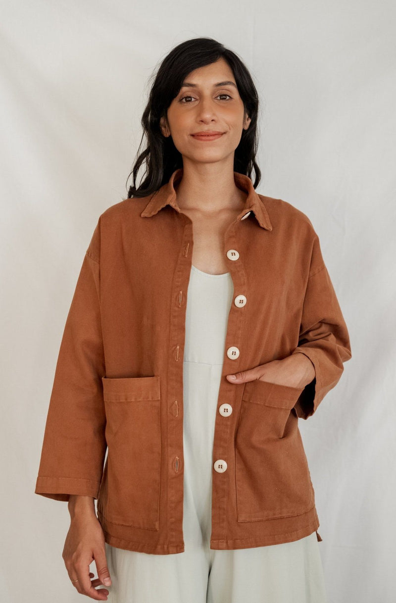 Mien Painters Button Organic Jacket - Saddle Brown JACKET Mien