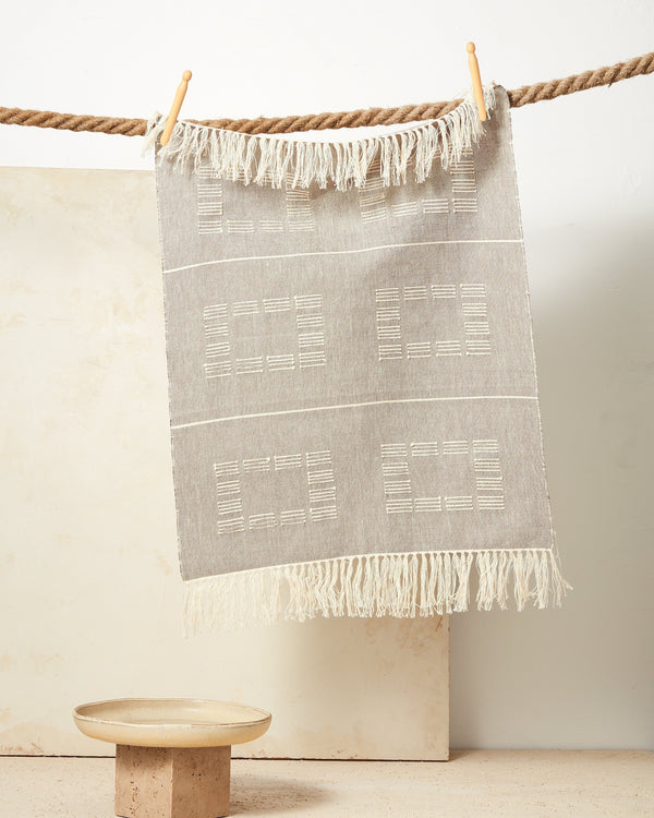 Minna Blocks Towel Beige Kitchen Textiles Minna