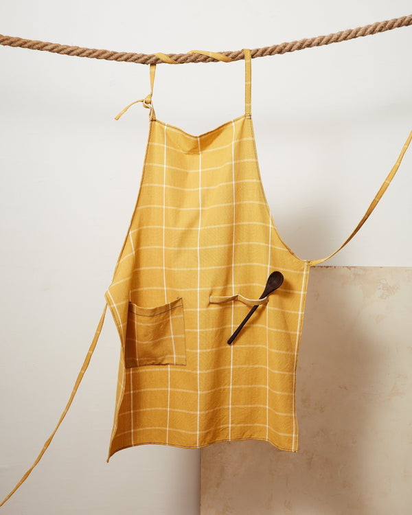 Minna Gold Grid Apron Kitchen Textiles Minna