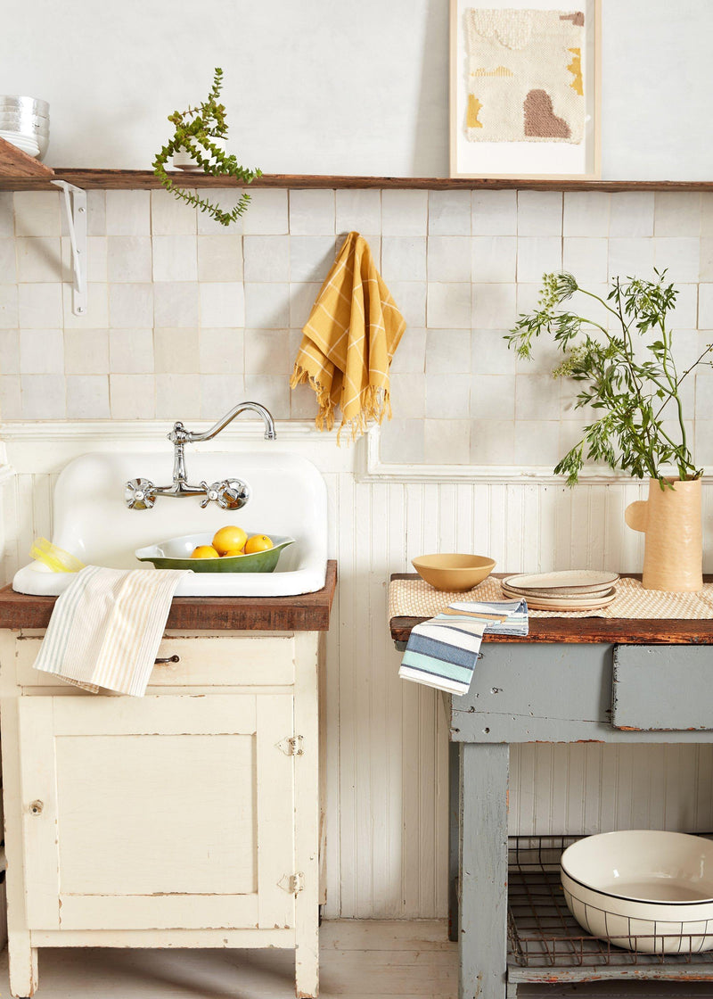 Minna Gold Grid Towel Kitchen Textiles Minna