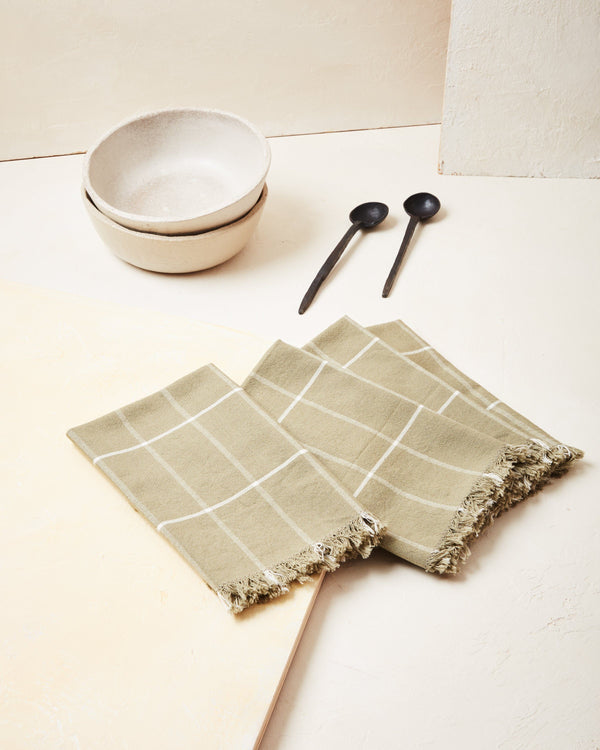 Minna Grid Napkin - Sage Kitchen Textiles Minna