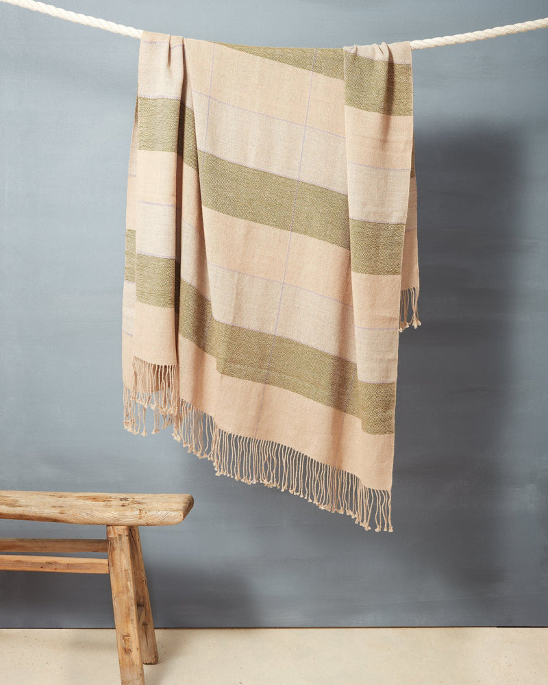 Minna Grid Throw Fern Blanket Minna