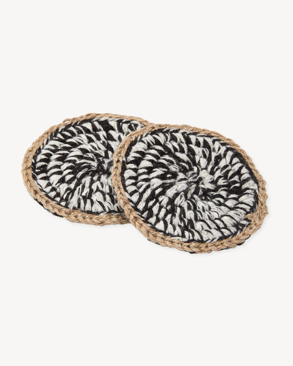 Minna Heathered Coasters - Dark, Set of 2 Kitchen Textiles Minna