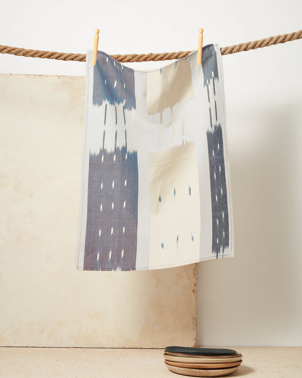Minna Ikat Towel Indigo Kitchen Textiles Minna