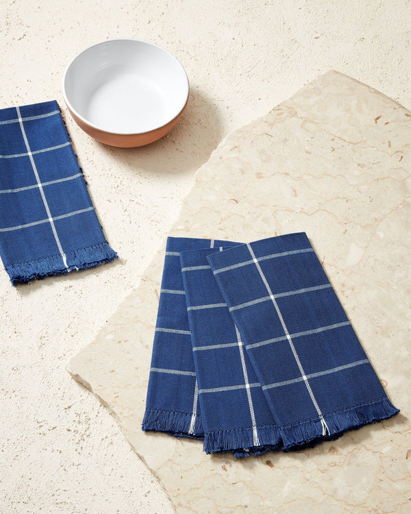 Minna Indigo Grid Napkin Kitchen Textiles Minna