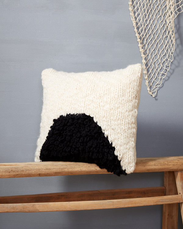Minna Moon Shag Pillow Black Pillows Minna