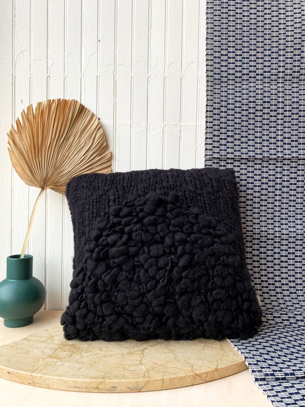Minna Moon Shag Pillow - Monochrome Black Pillows Minna