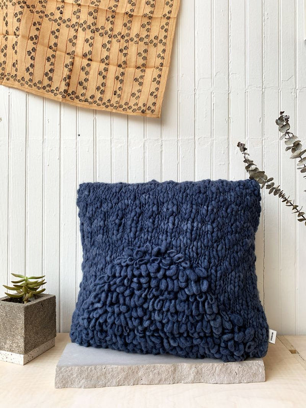 Minna Moon Shag Pillow - Monochrome Indigo Pillows Minna